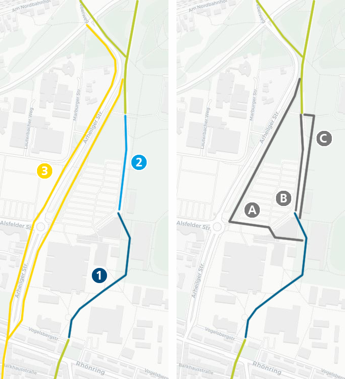 Lageplan Bürgerpark West_Abschnitte